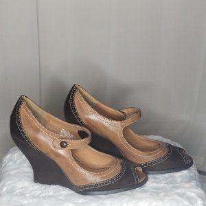 Unlisted Vintage Peep Toe Wedge Heels